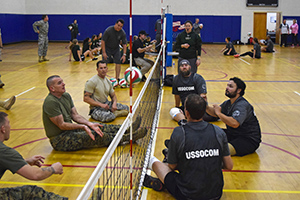 Sgt. Maj. Bryan B. Battaglia, senior enlisted advisor to Chairman of the Joint Chiefs of Staff, hits a volleyball during a match